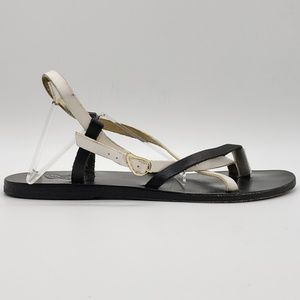 Ancient Greek Sandals Black & White strappy flat